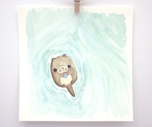 illustration, otter, and swimming image