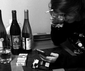 sad, alcohol, and cigarette image