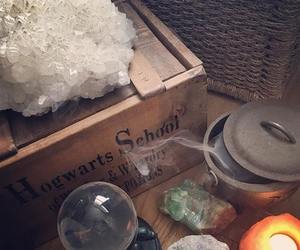 candle, crystals, and harry potter image