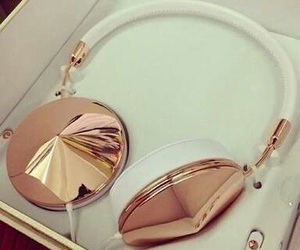 music, headphones, and gold image