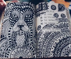 black, doodle, and mandala image
