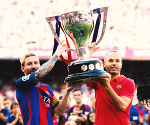 messi, iniesta, and Barcelona image