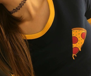choker, pizza, and fashion image