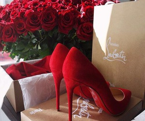 red, rose, and shoes image