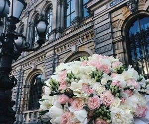 city, flowers, and gift image
