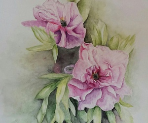 aquarell, drawing, and flowers image