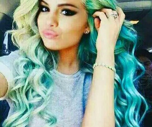hair, blue, and selena gomez image