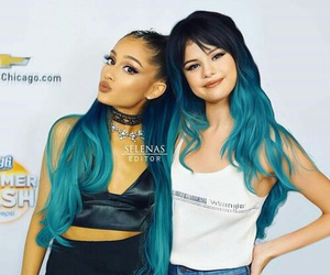 blue, pink, and ariana grande image