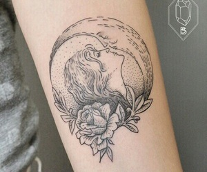 ink, inked, and moon image