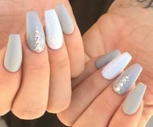 nails, grey, and white image