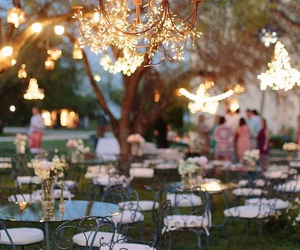 fairy lights, setting, and outdoor image