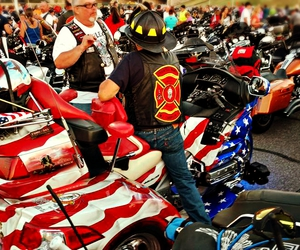 motorcycles, fire department, and 911ride image