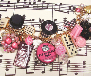 bracelet, pink, and music image