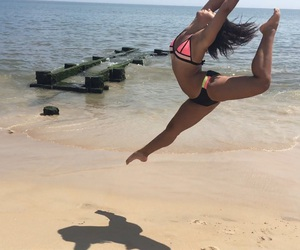 ballerina, jumps, and ballet image