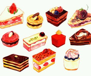 food, cake, and illustration image