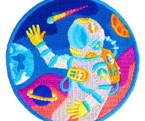 astronaut, mask, and overlay image