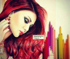 girl, nails, and red hair image