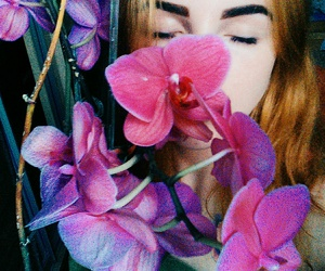 beautiful, girl, and flower image