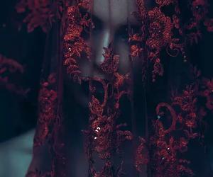 red, veil, and dark image