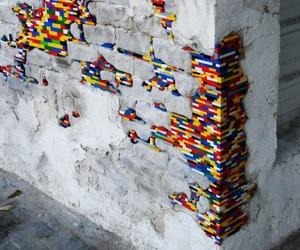 lego, wall, and art image