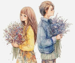 art, flowers, and couple image