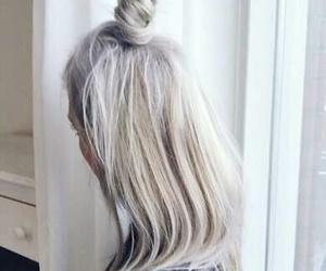 hair, grey, and bun image