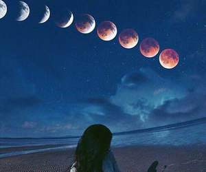 moon, girl, and beach image