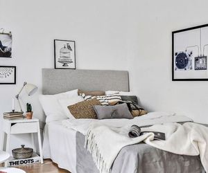 bedroom, art, and gray image