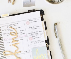 gold, pink, and planner image