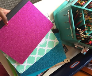back, glitter, and notebooks image