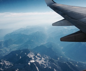 blue, mountains, and plane image