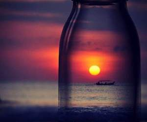 boat, bottle, and sea image