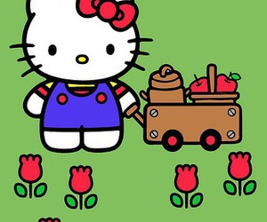 apples, hello kitty, and spring image