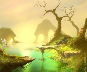 art, horizon, and river image
