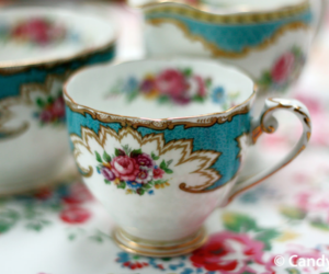 afternoon tea, antique, and kitsch image