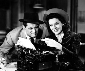 cary grant, rosalind russell, and his girl friday image