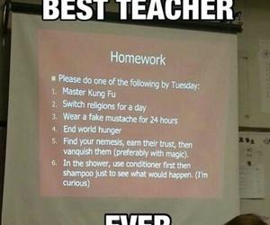 homework, teacher, and funny image