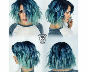 hair, short hair, and blue ombre image
