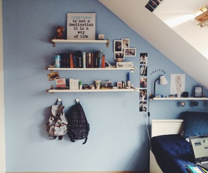 bedroom, blue, and books image