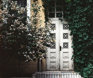 door, house, and flowers image
