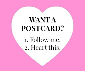 pink, want a postcard?, and heart image