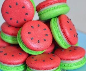 food, watermelon, and ‎macarons image
