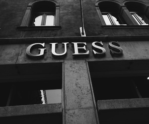 guess, black and white, and city image