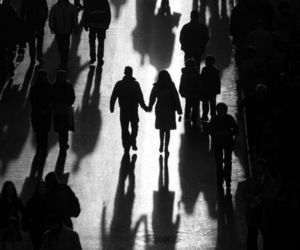bnw, couple, and crowd image