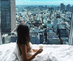 bed, city, and beautiful image