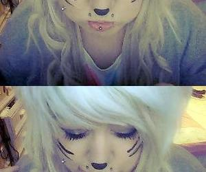 blonde hair, cats, and webcam image