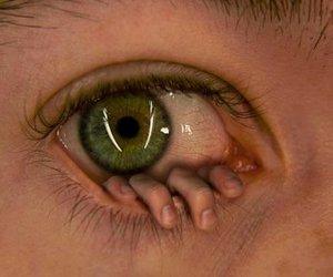 eye, hand, and creepy image