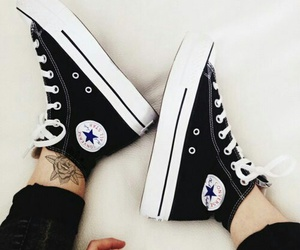 converse, tattoo, and black image