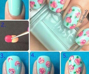 nails, flowers, and diy image