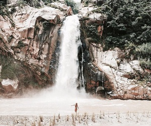summer, waterfall, and theme image